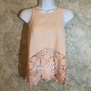 GB See-Through Lace Midriff Crinkle Tank Top